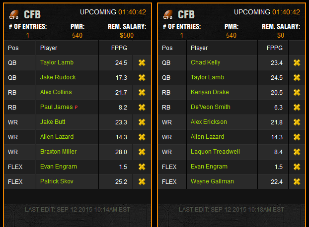cfx week 2 multiplier lineups